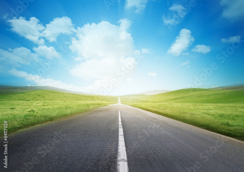 canvas print picture Fast Road Through The Countryside