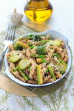 Fototapety Wholegrain pasta with green beans, zucchini and Brussels sprouts