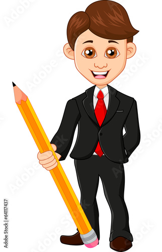 Businessman holding a pencil