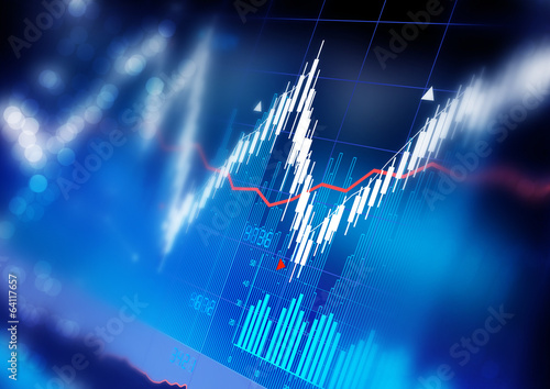 canvas print picture Stock Market Graphs