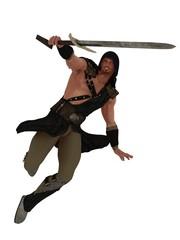 Hooded warrior in defensive pose
