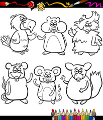 cute pets cartoon coloring book
