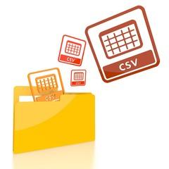 file folder with three csv symbol