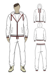 Man's zip-through hoodie and sweetpants. Vector illustration.