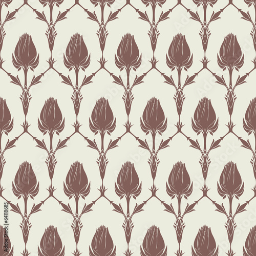 Seamless floral pattern with of tulips