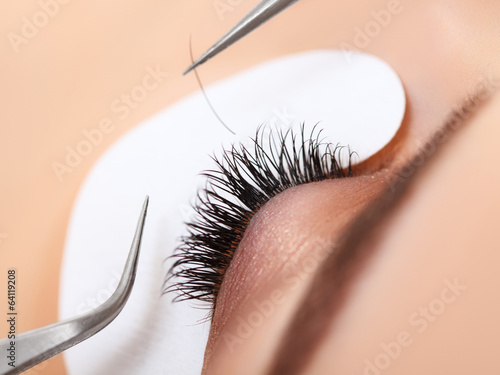 Tela Woman Eye with Long Eyelashes. Eyelash Extension