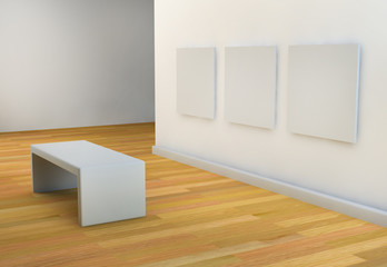 white walls art gallery or studio with viewing seat