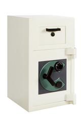 Locked closed grey safe on white