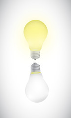 on and off light bulbs illustration design