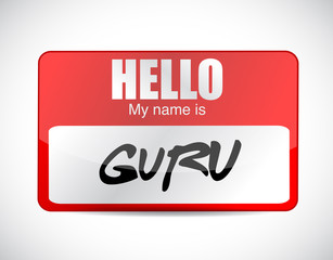 guru name tag illustration design