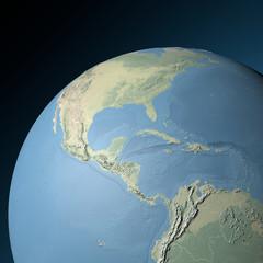 Cartina fisica America centrale in rilievo