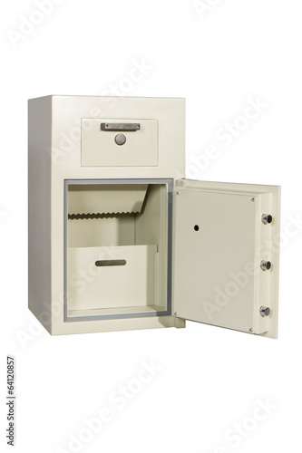 Locked closed grey safe on white