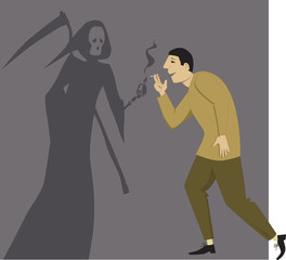 Grim Reaper giving a light to a man with a cigarette