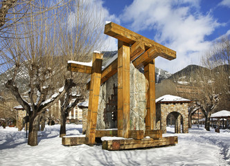 Sculptural composition in city park of Encamp. Andorra
