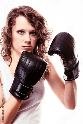 Sport boxer woman. Fitness girl training kick boxing