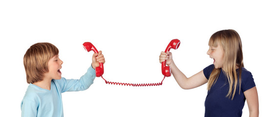 Two children fighting over phone