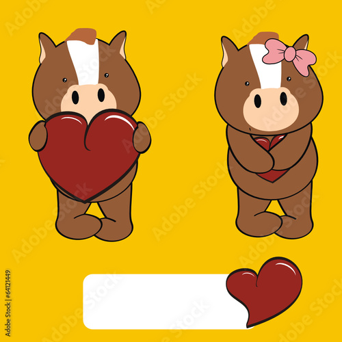 horse boy and girl sweet baby valentine