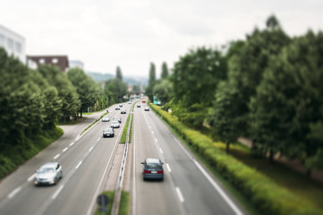 Motorway in Germany focus on highway - tilt shift lens used