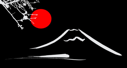 View Mount Fuji Kyoto and Osaka flowers red sun
