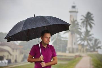 Man in heavy rain