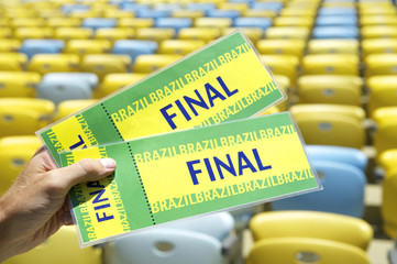 Soccer Fan Holding Final Brazil Tickets at the Stadium