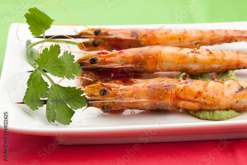 Salsa Spicy Whole Grilled Shrimps