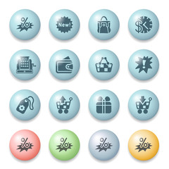 Commerce icons on color buttons.