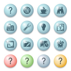 Organizer icons on color buttons.