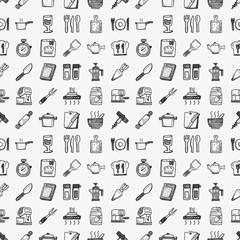 seamless doodle kitchen pattern