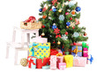 Decorated Christmas tree with gifts isolated on white