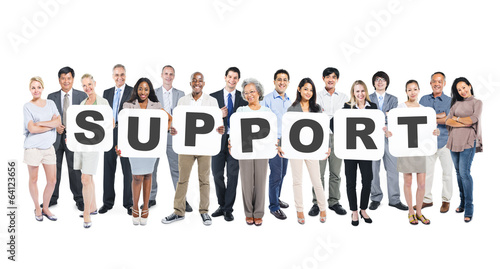 Group of Diverse People Holding Word Support