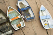 Small wooden boats in St Ives harbour - 64124472