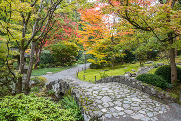 Fall Foliage Stone Bridge Japanese Garden
