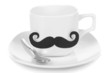 Cup with mustache isolated on white