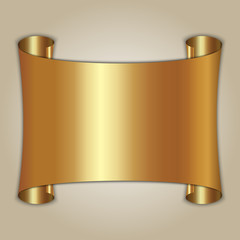 Vector abstract golden plate on beige background
