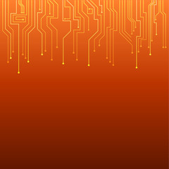 summer orange circuit board background (vector)