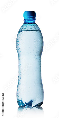 Blue bottle of pure water with drops