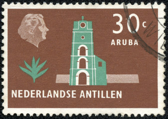 stamp printed in the Netherlands shows Church tower, Aruba