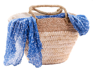 Wicker bag with colorful scarf, isolated on white