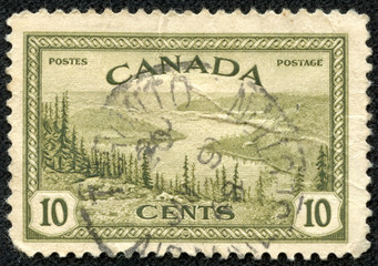 Stamp printed in Canada with landscape image of the Yukon River