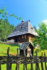 Old wooden huts in Sirogojno folklore museum