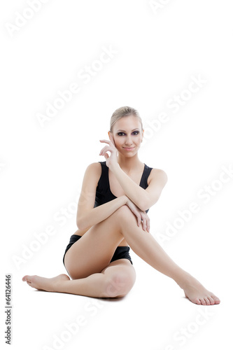 Image of lovely athletic woman isolated on white