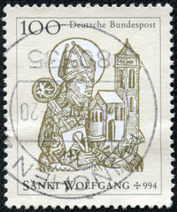 stamp shows St. Wolfgang , Bishop of Regensburg