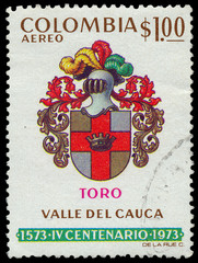Stamp shows the armor of the Colombian cavalry
