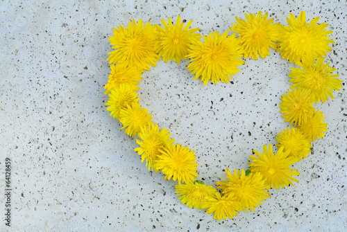 Yellow flowers heart