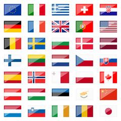 Set - Länderfahnen mit Spiegelung
