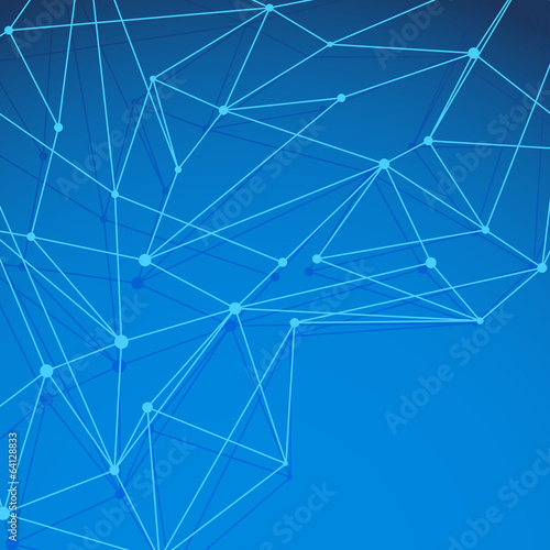 Modern blue molecule background layered