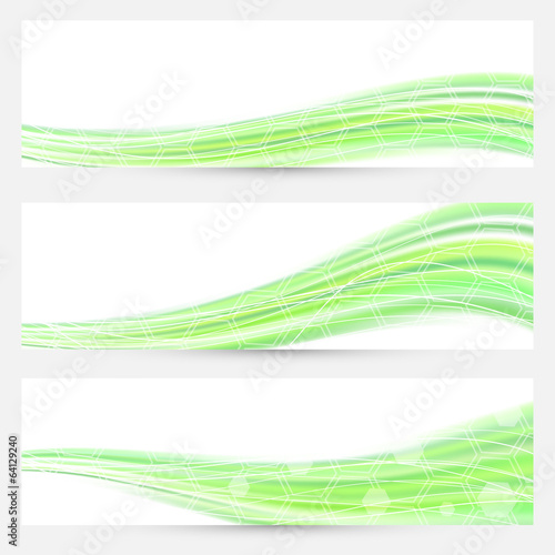 Modern green abstract flyer banners swoosh design