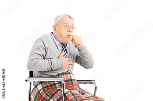 Senior man in wheelchair, choking