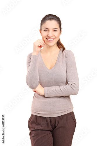 Woman posing isolated on white background